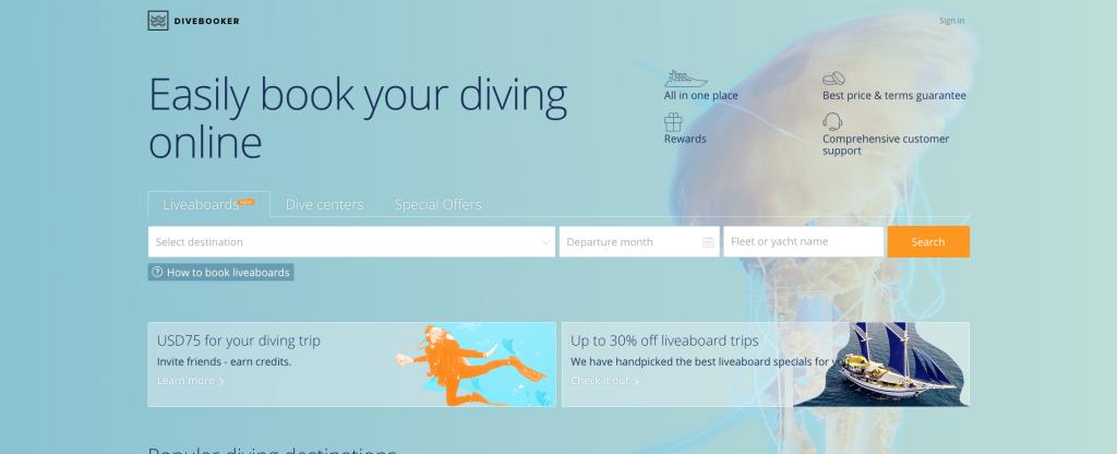 Divebooker.com homepage